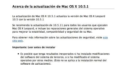La evolución de la primera actualización de las releases de Mac OS X