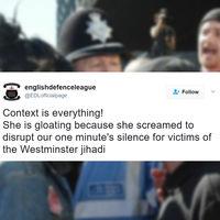 Están acusando a la británica sonriente de provocar a los manifestantes. Esto es lo que ocurrió realmente