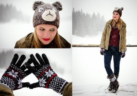Abrigo invierno frío guantes