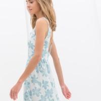 vestido flores azules trf