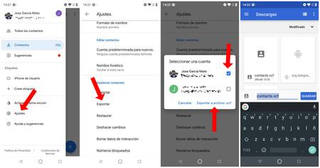 Exportar Contactos Google