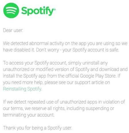 Spotify Aviso