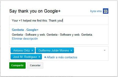 ¿Te ha sido útil alguna vez la búsqueda social de Google+? Google te anima a agradecerlo
