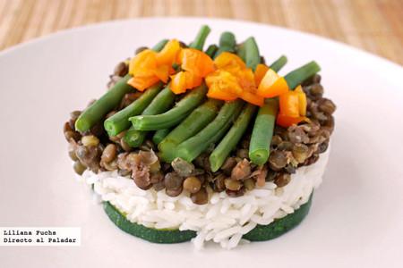 ensalada de lentejas con arroz y verduras