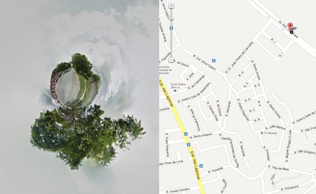 Planeta generado con Streetview Stereographic