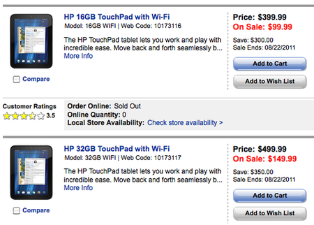 HP Touchpad precio de liquidación