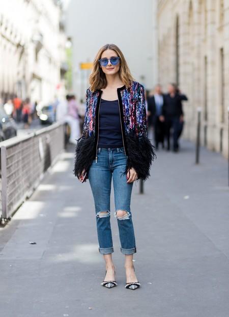 Olivia Palermo Sequin Jacket Paris Fashion Week 2017 Getty