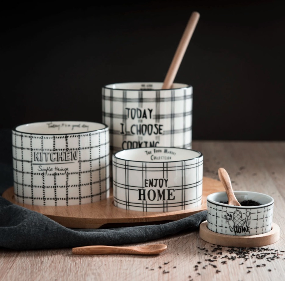 4 vasitos de loza con platillos y cucharas de bambú Food Market