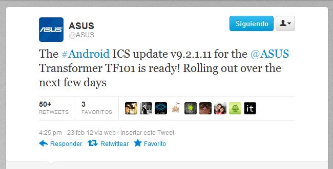 ASUS anuncia en Twitter la actualización