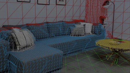El sensor LiDAR creando la malla 3D de elementos reales
