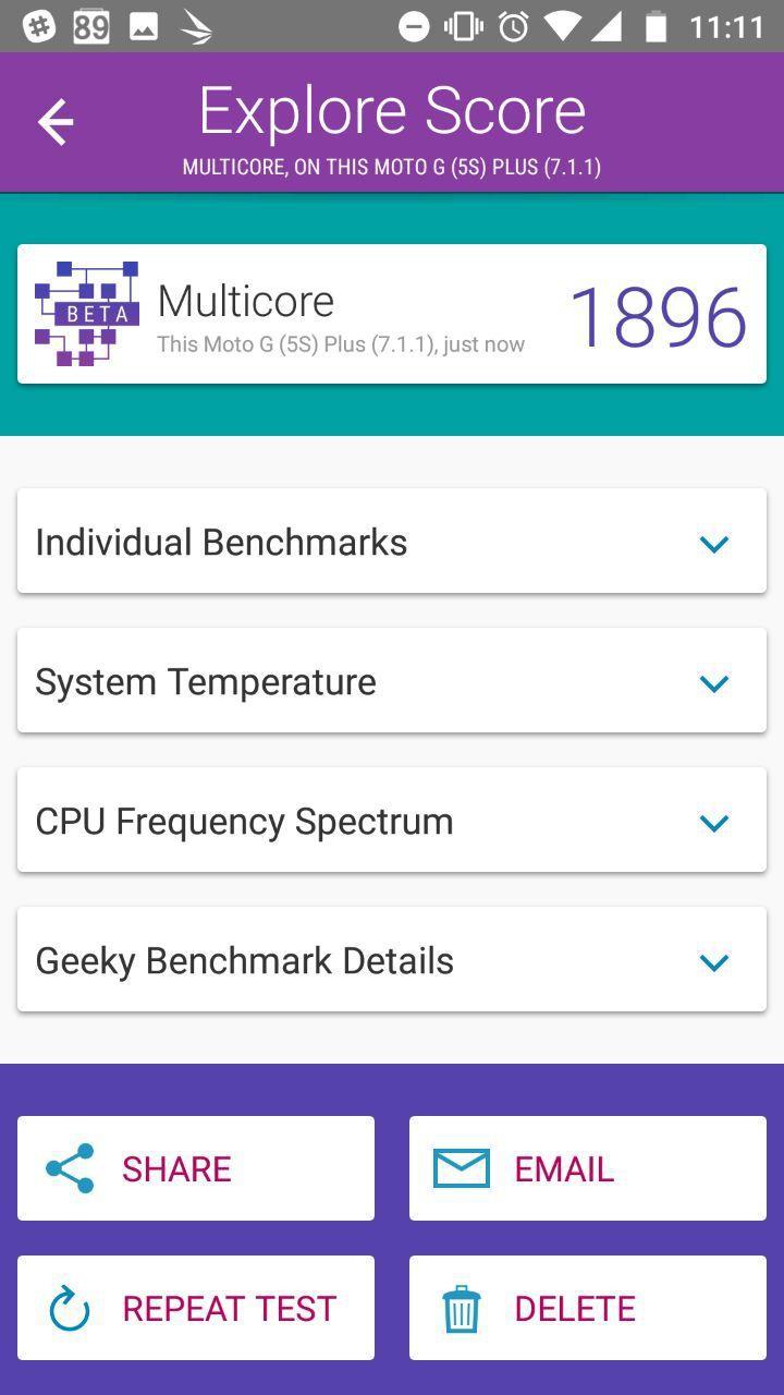 Benchmarks Moto G5S Plus
