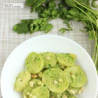 Ensalada de papas con pesto de cilantro y almendras. Receta