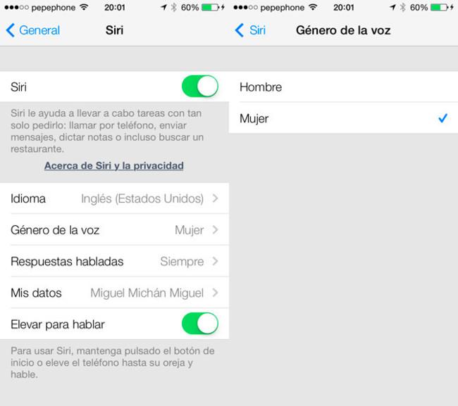 Nuevas voces de Siri en iOS 7
