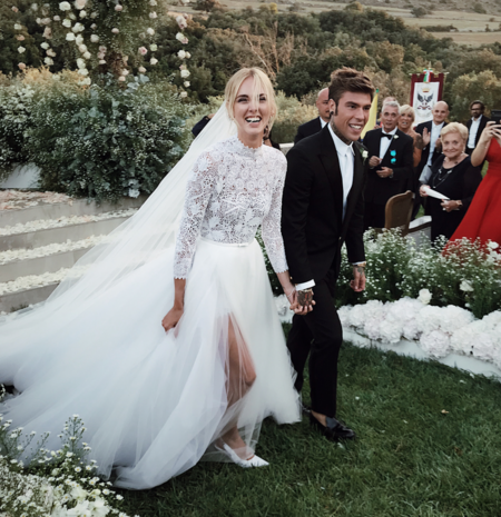 La influencer Chiara Ferragni el día de su boda vestida de Dior