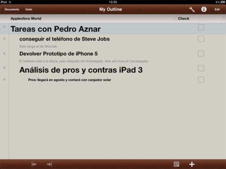 Omnioutliner para iPad, a fondo: organiza todas tus ideas y proyectos
