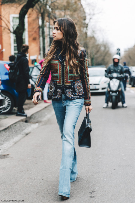 Milan Fashion Week Fall 16 Mfw Street Style Collage Vintage Miroslava Duma Hermes Bag Embroidered Jacket Flared Jeans 1