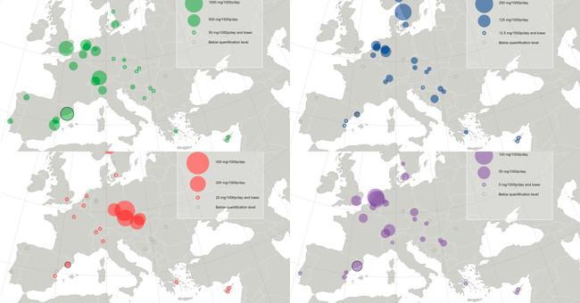 Las drogas más consumidas en cada ciudad Europa durante 2016, a vista de mapa