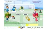 Comprar, pagar y revisar las vueltas es una aplicación en flash para practicar las matemáticas