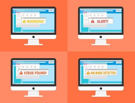 Ilustraciones de un ordenador alertando sobre problemas de seguridad