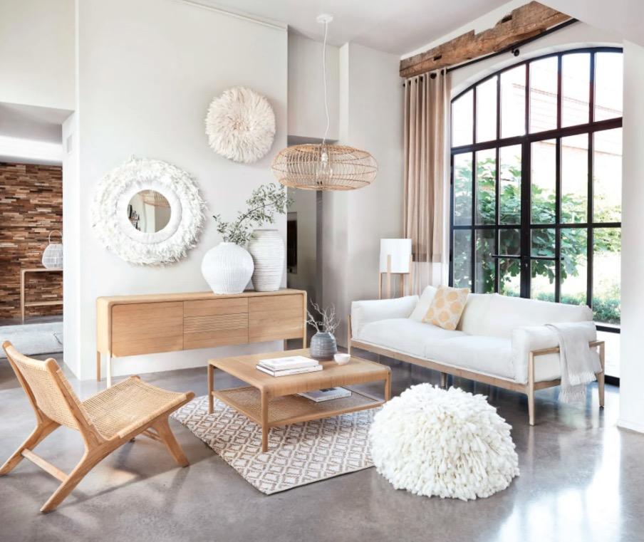Sofá Legno de 4 plazas de lino color marfil