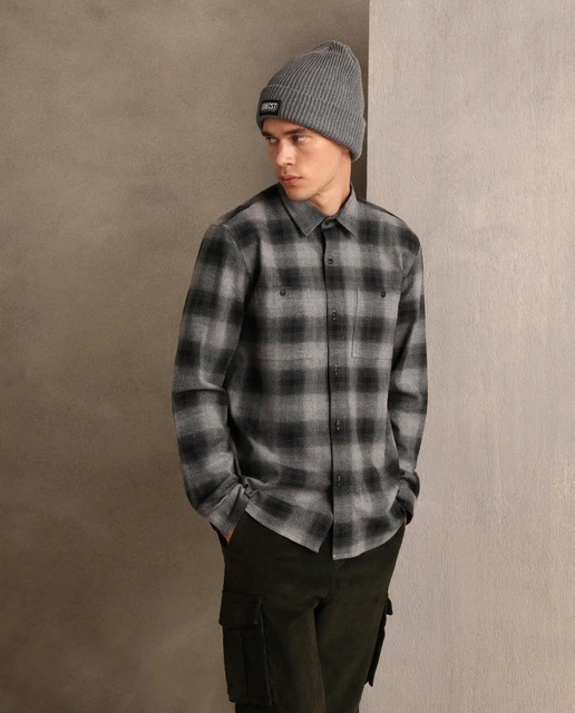Camisa de franela de hombre slim de cuadros gris