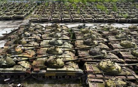 Cementerio de tanques en Ucrania