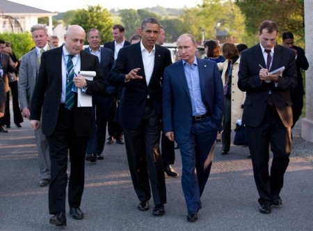 Barack Obama And Vladimir Putin Walking In Ireland