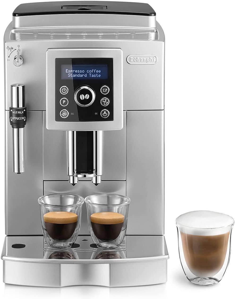 De'longhi ECAM 23.420.SB - Cafetera Superautomática 15 Bares de Presión, Espresso y Cappuccino, Depósito de Agua Extraíble 1.8 l, Panel LCD, Dispensador de Café Ajustable, Limpieza Automática