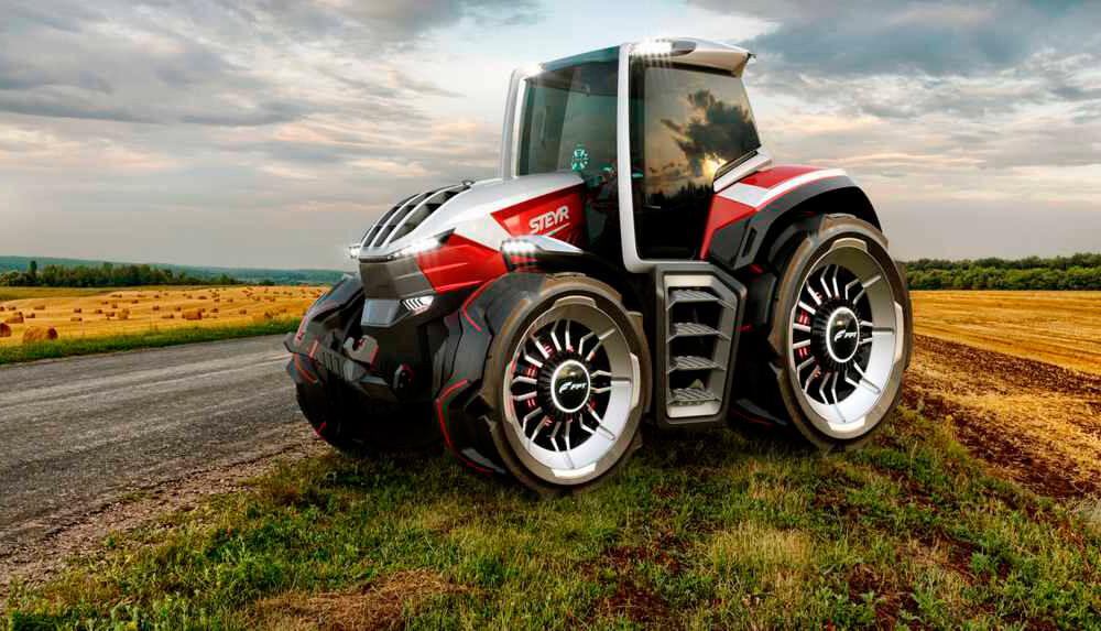 El Steyr Konzept promete ser un tractor eléctrico de rango extendido con cinco motores y un dron de mascota
