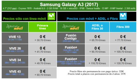 Precios Samsung Galaxy A3 217 Con Tarifas Movistar