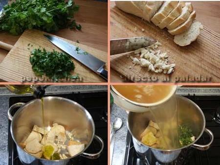 Sopa de cilantro. Elaboración