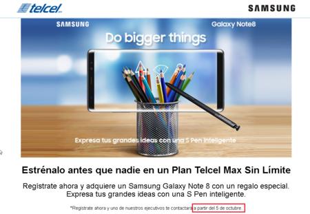 Samsung Galaxy Note 8 Preventa Telcel Mexico