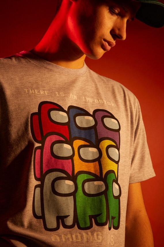 Camiseta gris en algodón con estampado de Among Us