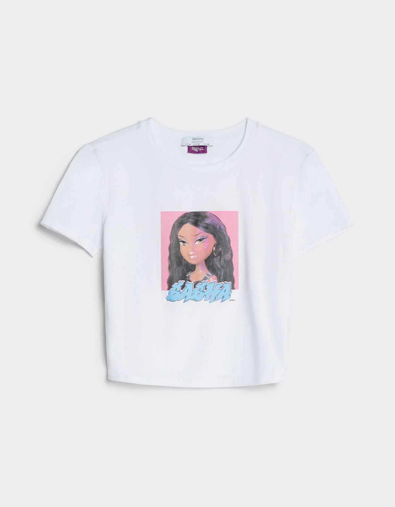 Camiseta cropped de color blanco