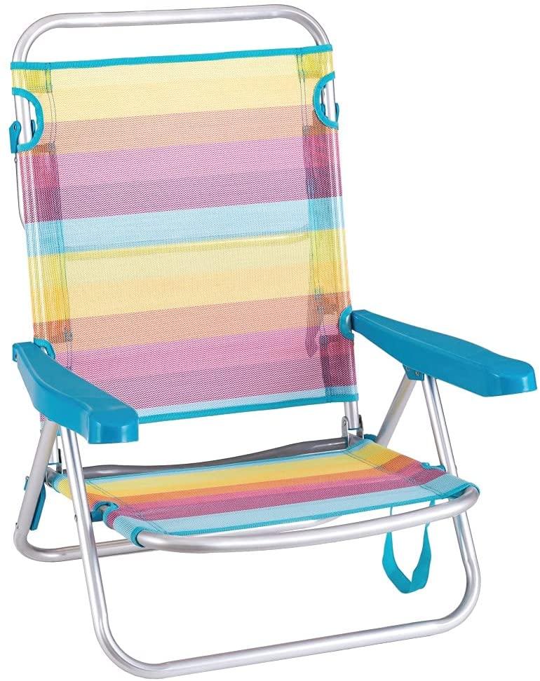 Silla Playa Baja con 4 Posiciones de Aluminio y textileno Multicolor Rainbow de 61x47x80 cm - LOLAhome