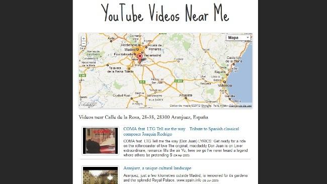 YouTube Videos Near Me, descubre vídeos geolocalizados alrededor de una determinada dirección
