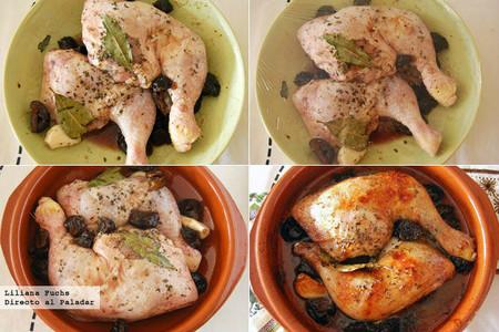 Pollo asado caramelizado con ciruelas. Pasos