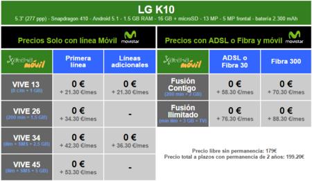 Precios Lg K10 Con Tarifas Movistar