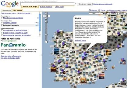 Google Maps ahora con fotos de Panoramio y definiciones de lugares de la Wikipedia