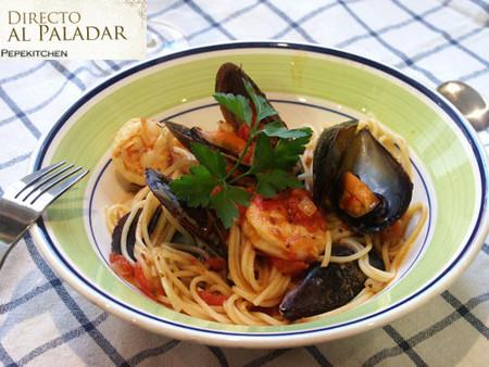 Receta de espaguetis a la marinera