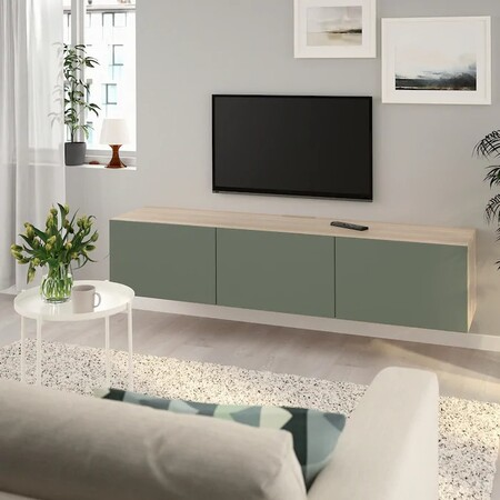 Besta Mueble Tv Efecto Roble Tinte Blanco Notviken Verde Grisaceo 0723579 Pe734049 S5
