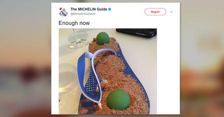 Una chancla servida como postre: el último esperpento de alta cocina que ha espantado a la Guía Michelin