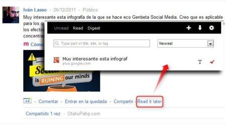 Envia a Read it later publicaciones de Google+ con un solo clic desde Chrome