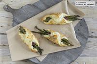 Pañuelos de espárragos y espinacas con queso crema. Receta