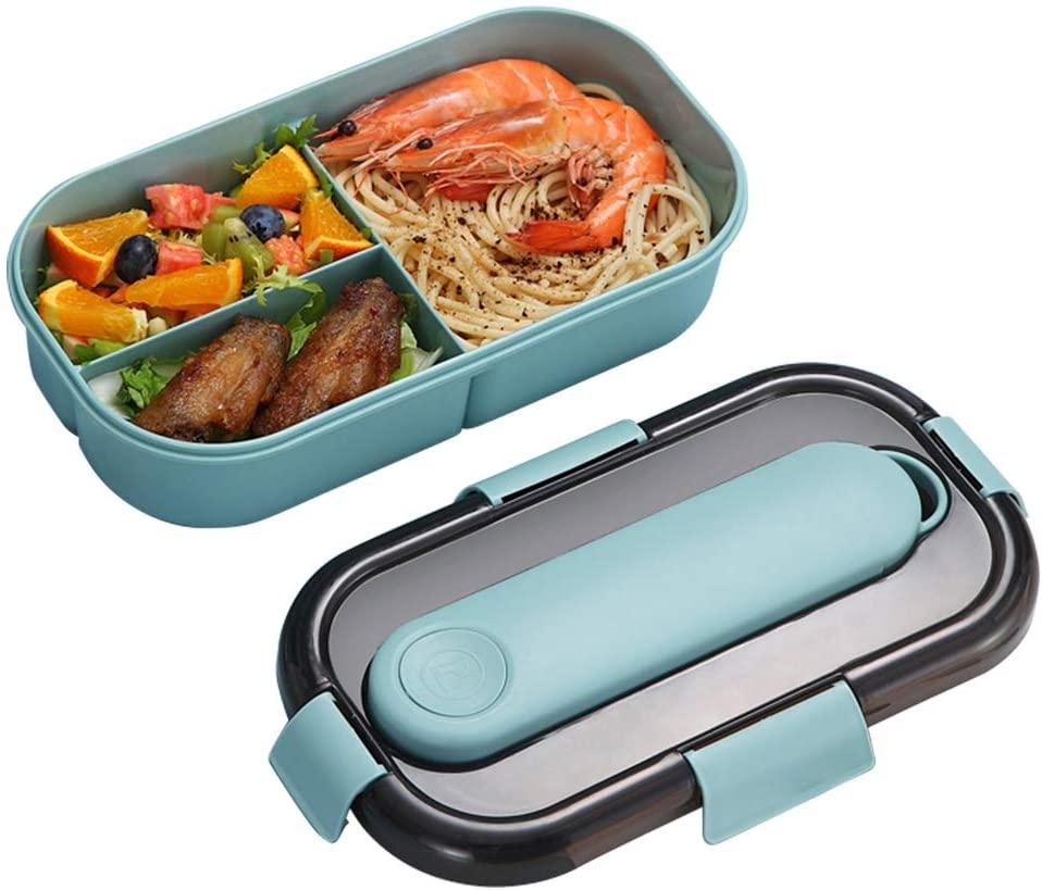 ZoneYan Caja Bento con Cubiertos, Fiambrera Caja de Almuerzo para Microondas, Bento Box con 3 Compartimentos y Cubiertos, Cuchara Tenedor Lonchera