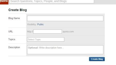Formulario para la creación de un blog en Quora