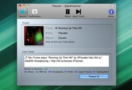 Twunes, otro completo programa para enviar a Twitter la canción que escuchas