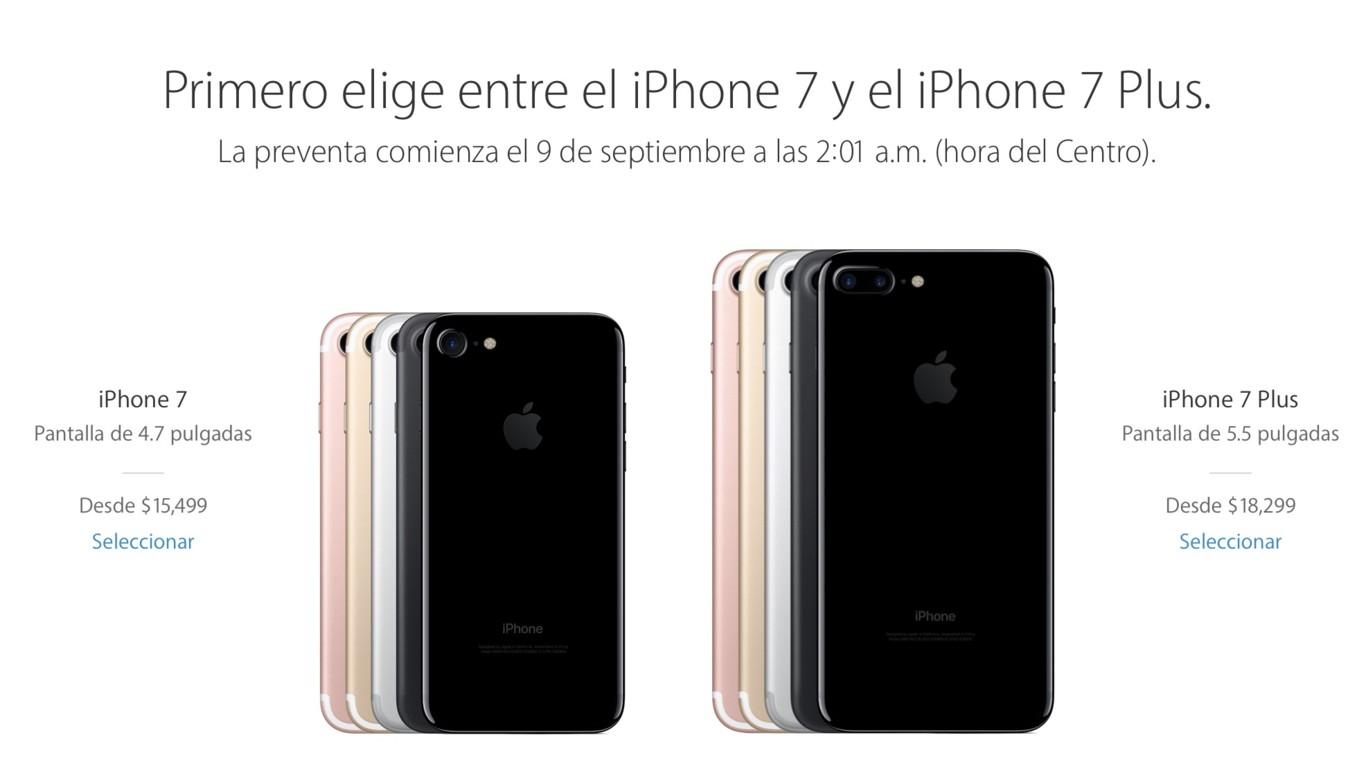 fabd84d4858 Los iPhone 7 y 7 Plus llegarán a México el 16 de septiembre, este es su  precio