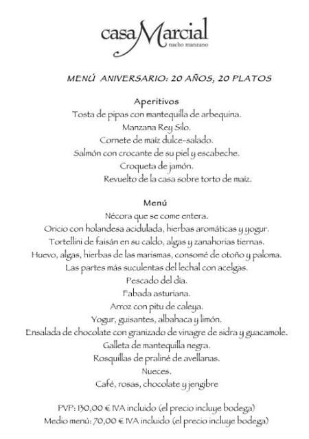menu aniversario casa Marcial