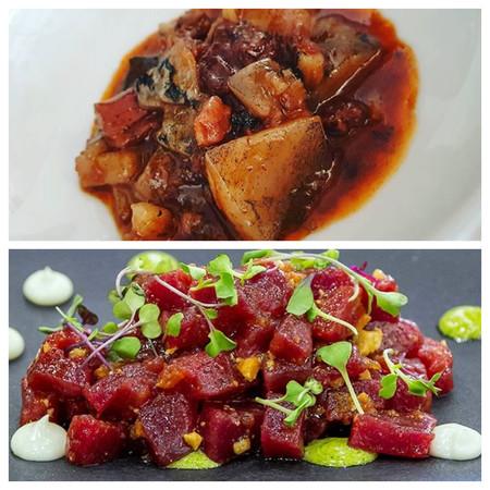 Callos De Atun Y Tartar Con Majado De Tomate De Conil Queso Payoyo Y Crema De Hierbas Aromaticas C Restaurante Viu Espacio Gastronomico